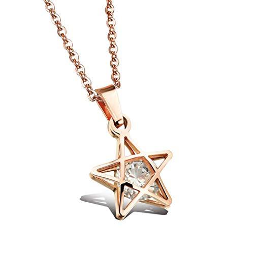 AYBB Edelstahl Pentagramm Anhänger Halskette Einfache Personalit Hohl Diamant Halskette Schmuck für Frauen,Rosegold