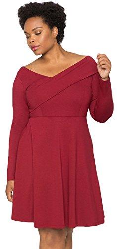 La Vogue Robe Femme Col V Manches Longues Grand Taille Soirée Rouge