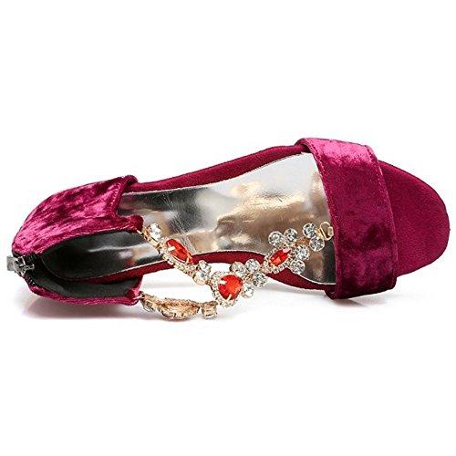 Tacco Cinghia Donna Moda Da Medio T Fibbia Aperto Strass Rosso Scarpe Con Fine Sandali Ha Sera Taoffen CzYxwC5
