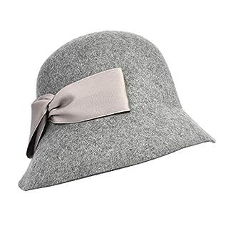 Amazplus Mode Fedora Damen Herbst und Winter Wolle Warm bleiben Mützen Mützen Mit Bogen Dekoration Einstellbar Größe Gray 57cm