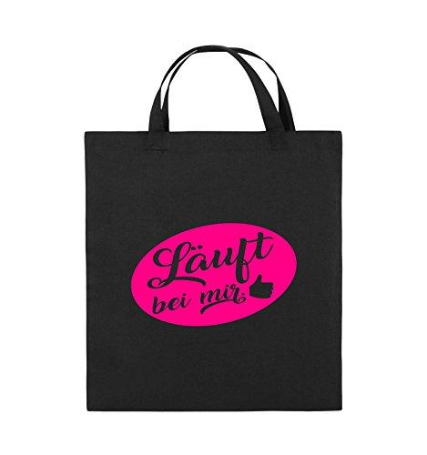Comedy Bags - Läuft bei mir - KREIS NEGATIV - Jutebeutel - kurze Henkel - 38x42cm - Farbe: Schwarz / Pink Schwarz / Pink