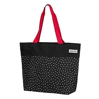 anndora Shopper 17 Liter Einkaufstasche Schultertasche Polyester schwarz weiß gepunktet