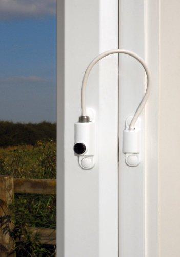 UPVC Pestillo de bloqueo con cable para ventanas. Cierre de seguridad para niños. Apto para puertas y ventanas. Color blanco.