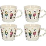 KitchenCraft - Set di 4 tazze natalizie in ceramica, Ceramica, 300 ml