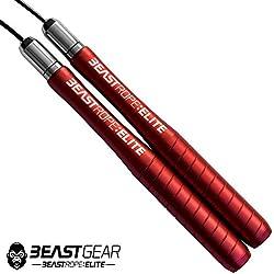 Beast Gear Cuerda Saltar Beast Rope Elite - Comba Crossfit Boxeo MMA HIIT Saltos Dobles - Comba Velocidad de Aluminio de Alta Calidad Ideal para Fitness tus Entrenamientos Metcon y Quema Grasa