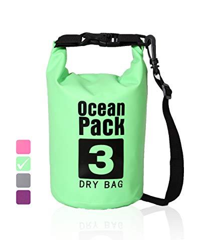 XENOBAG Wasserdichter Packsack 3 Liter | Dry Bag | Ocean Pack | PVC Tasche klein | Trockensack leicht | wasserfester Beutel | 4 Farben | mit robustem, verstellbarem Schultergurt (Grün, 3 Liter) - Pack Geschenk-tasche