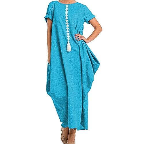 Subfamily Maxikleider Damen Elegant Unregelmäßiger Tasche Quaste Kurzarm Freizeitkleider (L, Blau)