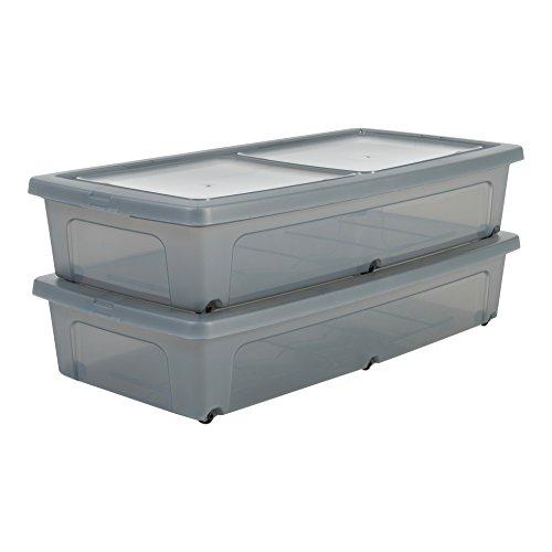 IRIS 135461, 2er-Set Unterbettboxen / Rollerboxen / Aufbewahrungsboxen 'Modular Clear Box Under...