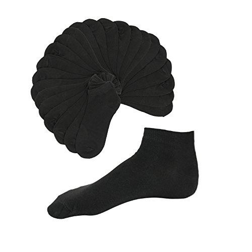 Basic Sneaker Socken Damen 12er Pack schwarz 35 - 38 Sportsocken knöchelhoch Füßlinge Ankle Socks Strümpfe Söckchen Kurzsocken Invisible Socks Sportstrümpfe kurze Socken Low Cut Socks (39-42, schwarz) (Low-cut-socken)