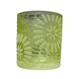 Teelichthalter Kerzenhalter grüne Blumen