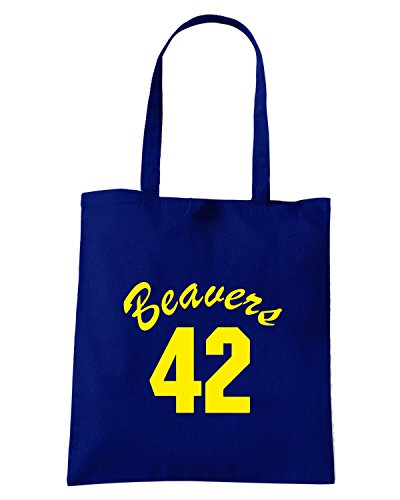 T-Shirtshock - Borsa Shopping FUN0732 beavers teenwolf yel mens cu 4 1 Blu Navy