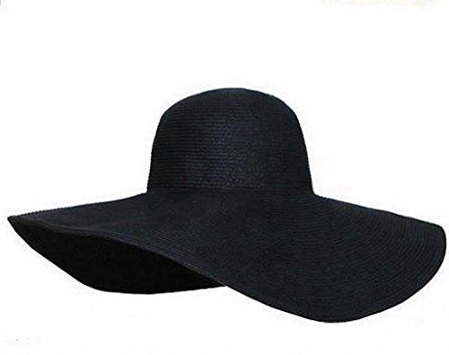 Tukistore Mujeres Plegable Soporte Sombrero Sombrero de Paja Bohemia de Ancho Borde de Viaje Sombrero de Sol Sombrero de Playa Sombrero de Pesca Sombrero de Sol Sombrero de Protección UV de Verano gorra