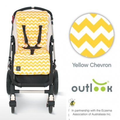 Outlook Travel Comfy Pram, Pushchair, Car Seat Liner – Yellow Chevron