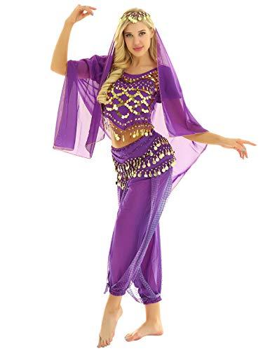 ranrann Traje de Danza del Vientre para Mujer Conjunto de Baile India Árabe Lentejuelas Vestido Danza del Oriental Disfraz de Fiesta Carnaval Actuación Morado One Size