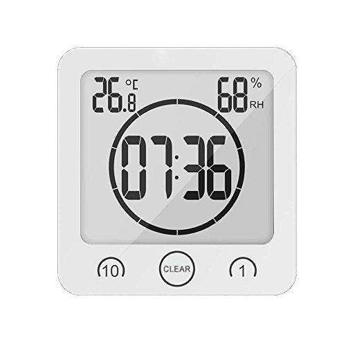 BODECIN Wasserdicht Digitales Badezimmer Dusche Clock mit Großem LCD Display Luftfeuchtigkeit Temperatur Display Timer, Intelligente Touch-Control für Badezimmer Dusche Make-up - Dusche Uhr Lcd