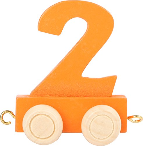 Buchstabenzug | Geburtstags Zahlen und Waggon mit Kerzenhalter | Holzeisenbahn | EbyReo® Namenszug aus Holz | personalisierbar | Geburtstag oder als Deko für den Geburtstagstisch (02 Zahl 2)