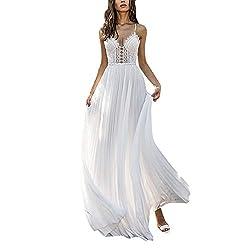 Dicomi Damen Sexy Party Ballkleid Chiffon Rückenfrei Elegant langes Abendkleider ärmellosen Neckholder Cocktailkleid Weiß L