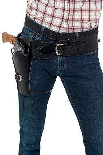 Luxuspiraten - Kostüm Accessoires Zubehör Single Pistolen Revolver Gurt mit Gürtel in Leder Optik, perfekt für Karneval, Fasching und Fastnacht, Schwarz