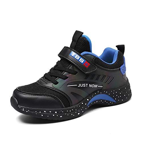 GXTING Laufschuhe Für Jungen, Leichte Sportschuhe Atmungsaktive Sportschuhe Aus Unisex-Netzgewebe Für Kinder Athletic Casual Velcro Im Freien,Blackorange,40 -