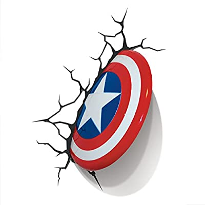 "Marvel ""Captain America"" Shield 3D LED Light - inexpensive UK wall light store."