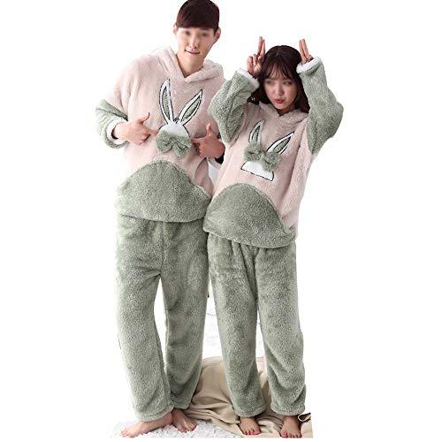 Huifang coppia pigiama invernale flanella cartone animato in pile di corallo pantaloni a maniche lunghe vestito ispessimento casa servizio incappucciato (colore : male, dimensioni : l.)