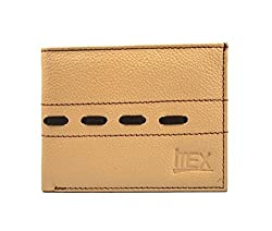 Imex Mens Beige & Brown Genuine Leather Wallet