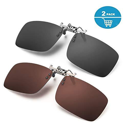 ELIVWR 2-Stück, Herren Rectangle Sonnenbrillen-Clip Polarisierte für Brillenträger Autofahren für Brillenträger 100% Schutz vor Schädlichen UVA/UVB Strahlen (Braun+ Grau, 59 * 41)