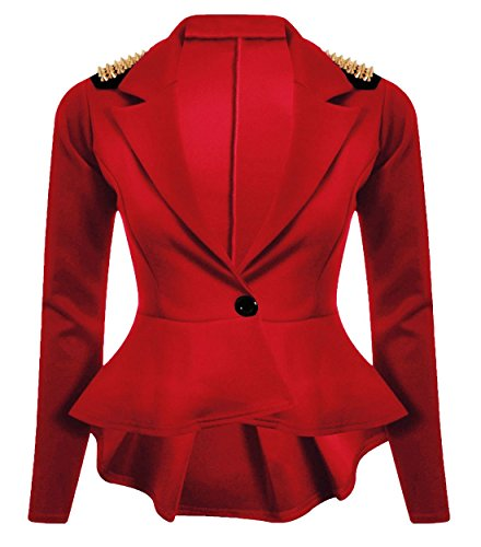 Chocolate Pickle ® Femmes cloutés volantée Blazer bouton Vestes Red Studs