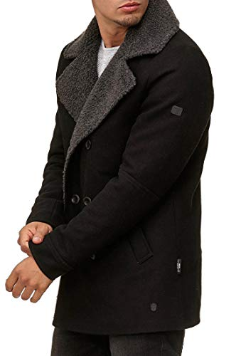 Indicode Herren Basire Winter Wollmantel Jacke Mantel Black S - 2