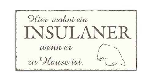 Preisvergleich Produktbild TÜRSCHILD Dekoschild « INSEL FEHMARN » Vintage Holzschild Schild Ostsee Urlaub Ferien