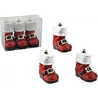 Set di 3 - 10 centimetri Deluxe Red Glitter di Santa avvio albero di Natale Decorazioni