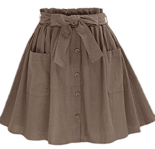 erdbeerloft - Damen Kurzer Faltenrock mit Schleife und Knopfleiste, Viele Farben Grau