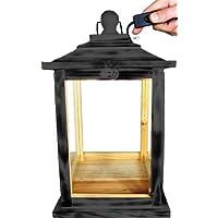 Black klg-ofos Nero legno lanterna, con illuminazione 220V, Lanterna in legno con legno–decorazione in legno grande Nero antracite velato Grigio scuro, Mensola portaoggetti in legno antico–Look