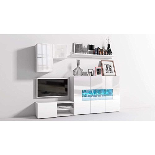 JUSThome Onyx XVII A LED Wohnwand Anbauwand Schrankwand Weiß Matt | Weiß Hochglanz