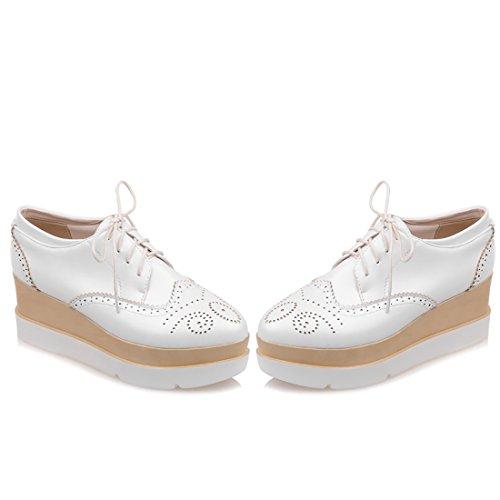UH Femmes Chaussures avec Lcaet a Talon Moyen Plates Confortable avec Dentelle Retro a la Mode Blanc