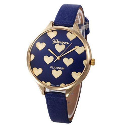 Montres femme pas cher amour Checkers décontractés PU cuir Analogique de luxe Montre à quartz (Rouge) (Bleu)