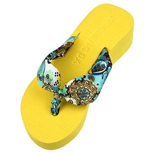 Uomogo® sandali pantofole da donna pantofola da donna estiva moda pantofola traspirante leggera e morbida infradito da spiaggia con zeppa a tacco alto con zeppa (asia 37, oro)