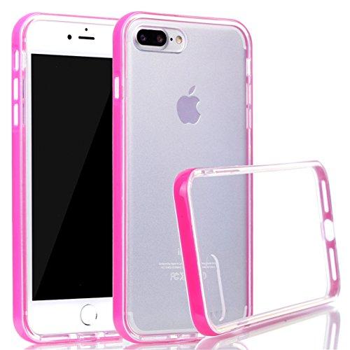 iPhone 8 Plus Hülle, Voguecase Silikon Schutzhülle / Case / Cover / Hülle / TPU Gel Skin für Apple iPhone 8 Plus 5.5(Transparente Grenze/Rose) + Gratis Universal Eingabestift Transparente Grenze/Rose