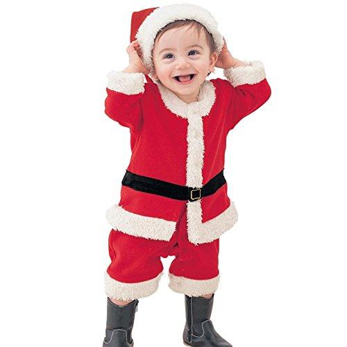 ARAUS Baby Anzug Weihnachten Langarm Strampler + Mütze 2 Set Jungen Unisex Weihnachtsmann Body Outfit (Weihnachtsmann Baby Anzug)