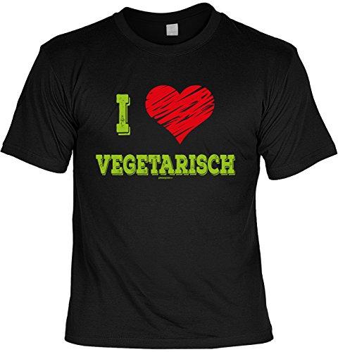 Griller T-Shirt - I Love VEGETARISCH - FunHemd für BBQ und Grillen Schwarz