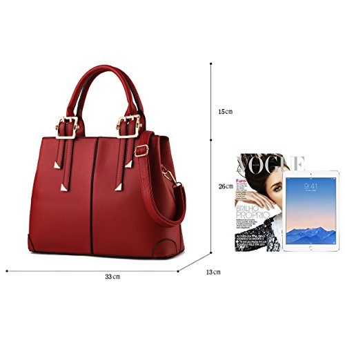 Tisdaini Portafoglio delle borse di affari del sacchetto del messaggero della spalla di modo della borsa dell'unità di elaborazione delle donne vino rosso