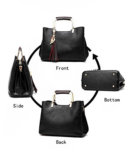CLOTHES- Borsa delle signore Bagagli di cuoio genuino della borsa di cuoio selvaggia della nuova versione coreana di versione della donna della spalla Messenger della spalla ( Colore : Nero ) Nero