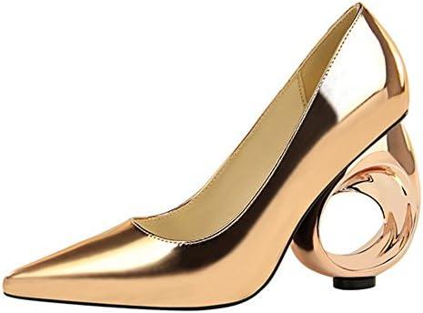 Mujeres Discoteca De Tacón Alto Acentuado Cerca Del Dedo Del Pie Sexy Fashion PU Court Shoes Metal Sandalias Huecas...