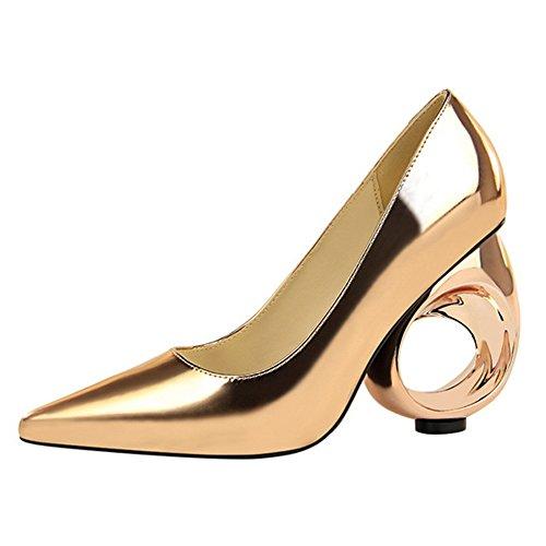 h Heel Pointed Nähe Zehe Sexy Mode PU Gericht Schuhe Metall Hohl Sandalen Prom Bar Schuhe,Gold(10cm)-EU35/UK2.5 (Sexy Nähe)