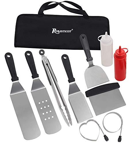 Kit de Accesorios para Barbacoas - 11PC Juego de Espátula de Acero Inoxidable con Bolsa de Transporte - Dispositivo de Barbacoa para Barbacoas Resistentes - Ideal para Cocinar con Tapa Plana