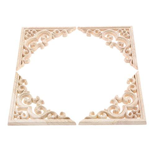 4Pcs Vintage Holz Geschnitzt Corner Flourish Applique Rahmen Möbel Wand Unlackiert für Haus Schrank Tür Dekor Handwerk 11*11cm - Handwerk Holz-applique