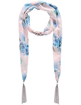 lureme® Jahrgang böhmischen Stil Multi col stieg Druck Chiffon mit Perlen Kette Quasten hängenden Schal Halskette...