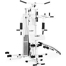Klarfit Ultimate Gym 5000 multiestación de musculación (entrenamiento profesional, robusto armazón, poleas, pesos ajustables, múltiples ejercicios para brazos, piernas, espalda, hombros y pecho) - blanco