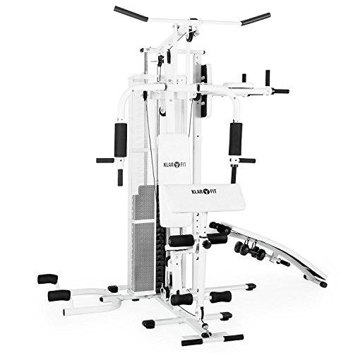 Klarfit Ultimate Gym 5000 Heimtrainer Trainingsstation (Multifunktionale Fitnessstation für über 50 Übungen, inkl. Gewichte) weiß