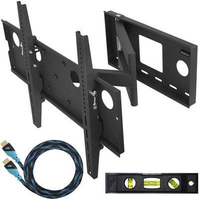 """Support Mural TV Inclinable et Pivotant par Cheetah Mounts (APSAMB) Mouvement Total avec Bras Articulé pour Ecran Plat, LED, LCD et Plasma de 32"""" à 65"""" (80-165cm)  Inclus un Câble HDMI 1.4 Tréssé à Haute Performance de 3 Mètre avec Ethernet"""